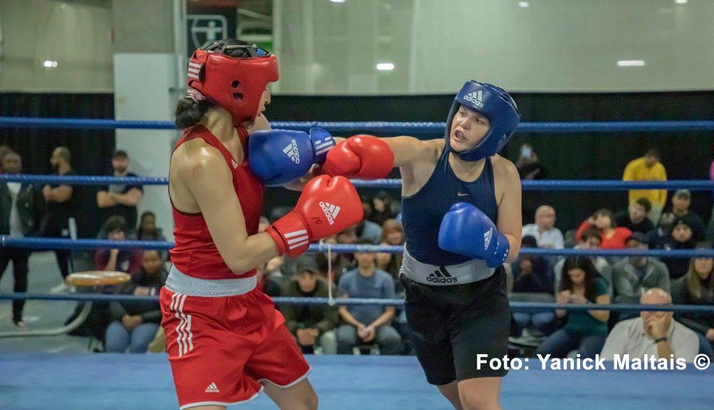 Cecilie Kølle i ringen for første gang i Canada den 19. oktober i Montreal. En kamp, hun vandt i sikker stil 5-0. Foto: Yanick Maltais